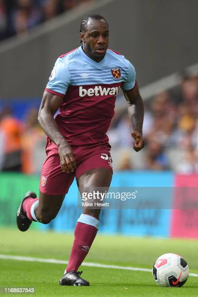 Michail Antonio of West Ham United in action during the Premier League match between Brighton Hove Albion and West Ham United at American Express...