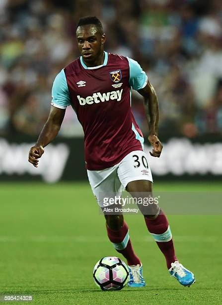 Michail Antonio of West Ham United in action during the UEFA Europa League match between West Ham United and FC Astra Giurgiu at The Olympic Stadium...