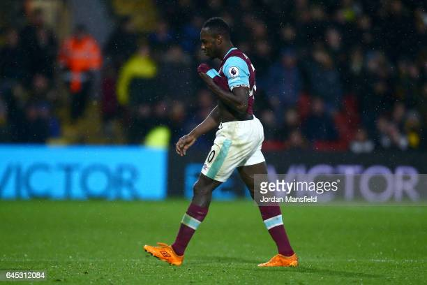 Michail Antonio of West Ham United leaves the pitch after being sent off during the Premier League match between Watford and West Ham United at...