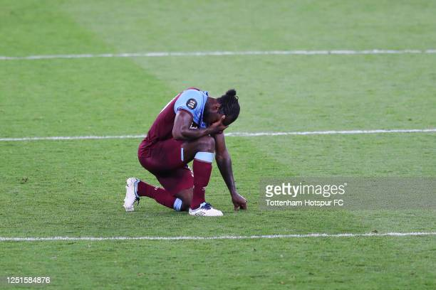 Michail Antonio of West Ham United looks dejected following his sides defeat in the Premier League match between Tottenham Hotspur and West Ham...