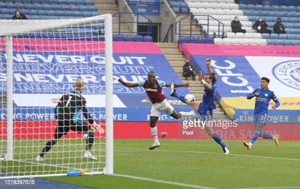 Michail Antonio of West Ham United scores his sides first goal during the Premier League match between Leicester City and West Ham United at The King...