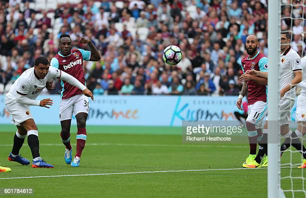 Michail Antonio of West Ham United scores his sides first goal during the Premier League match between West Ham United and Watford at Olympic Stadium...