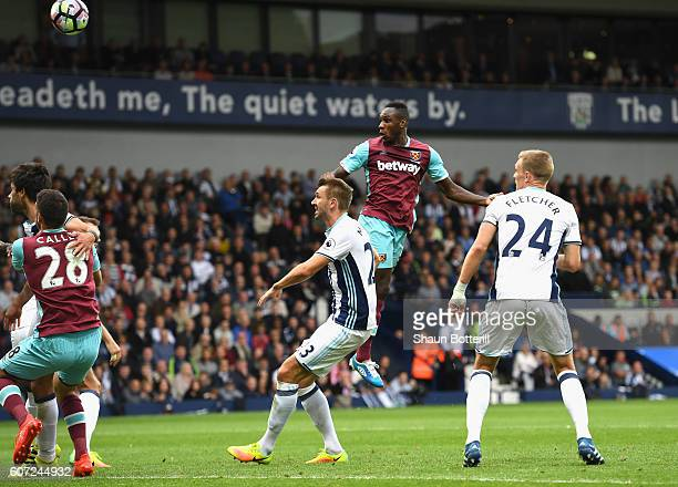 Michail Antonio of West Ham United scores his sides first goal during the Premier League match between West Bromwich Albion and West Ham United at...