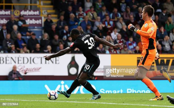 Michail Antonio of West Ham United scores his sides first goal during the Premier League match between Burnley and West Ham United at Turf Moor on...