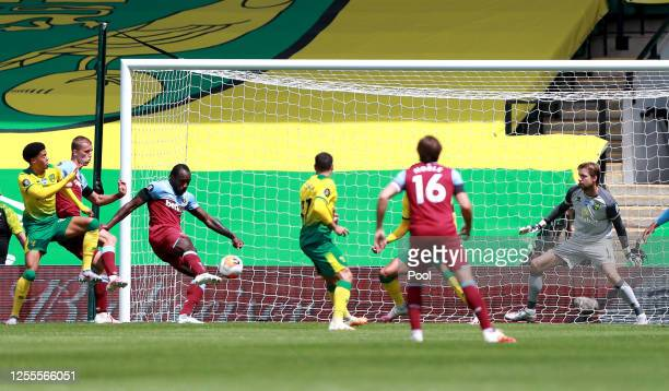 Michail Antonio of West Ham United scores his team's first goal during the Premier League match between Norwich City and West Ham United at Carrow...