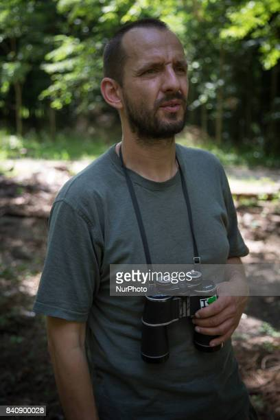 Michal, an activist and ornithologist is seen guiding journalists through Europes last primeval forest in Bialowieza, Poland on 19 July, 2017.