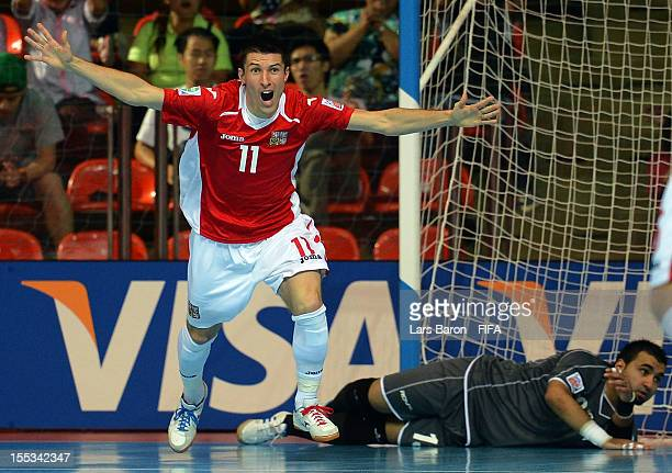 Michal Belej of Czech Republic celebrates after scoring his teams second goal during the FIFA Futsal World Cup Group E match between Czech Republic...