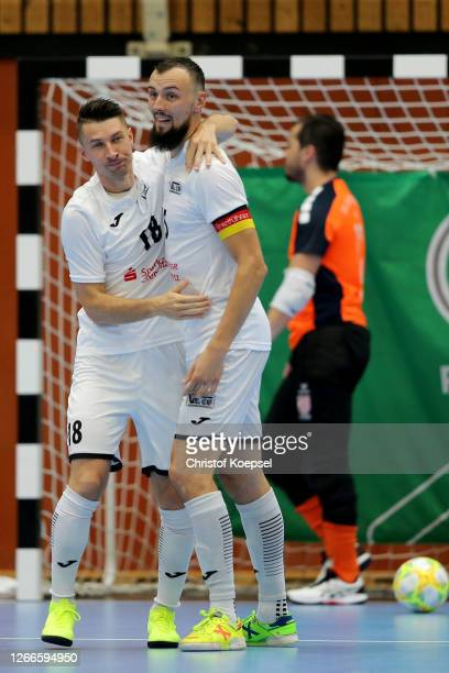 Michal Belej of SV Hohenstein-Ernstthal celebrates the third goal with Christopher Wittig of SV Hohenstein-Ernstthal during the German Futsal...