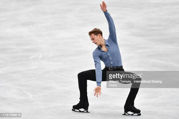 Michal Brezina of Czech Republic competes in the Men short program during day 2 of the ISU World Figure Skating Championships 2019 at Saitama Super...