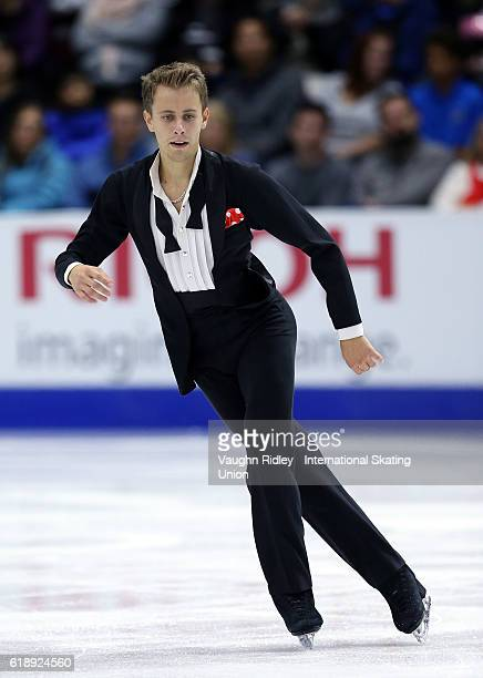 Michal Brezina of Czech Republic competes in the Men Short Program during the ISU Grand Prix of Figure Skating Skate Canada International at Hershey...