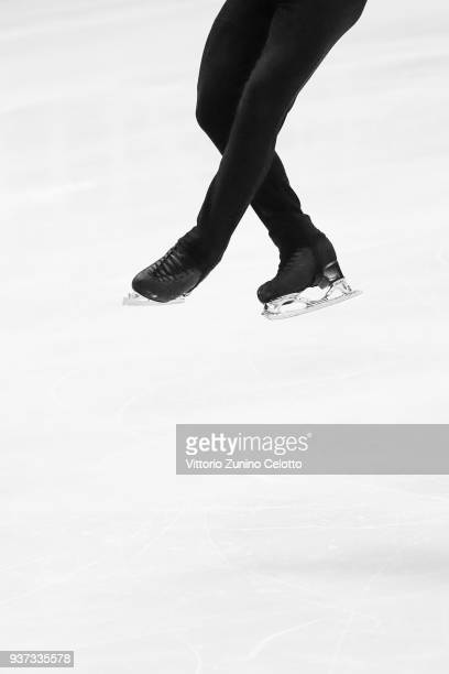Michal Brezina of Czech Republic competes in the Men's Free Skating during day four of the World Figure Skating Championships at Mediolanum Forum on...