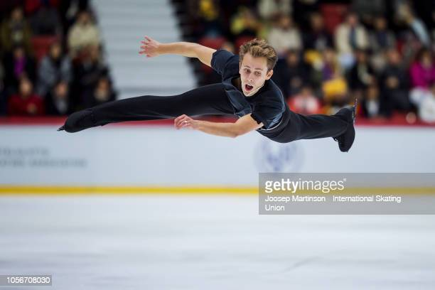Michal Brezina of Czech Republic competes in the Men's Short Program during day two of the ISU Grand Prix of Figure Skating at the Helsinki Arena on...