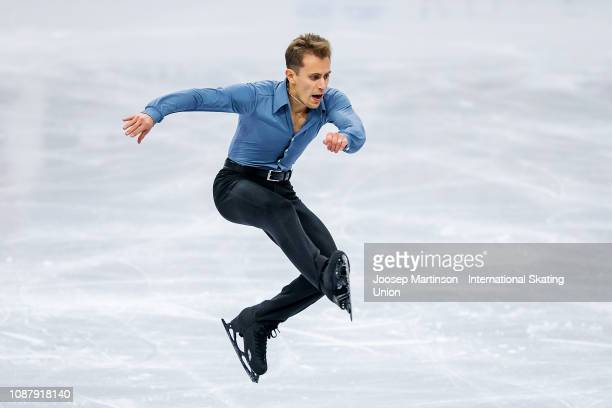 Michal Brezina of Czech Republic competes in the Men's Short Program during day two of the ISU European Figure Skating Championships at Minsk Arena...