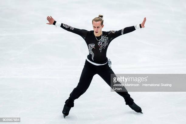 Michal Brezina of Czech Republic competes in the Men's Short Program during day one of the European Figure Skating Championships at Megasport Arena...