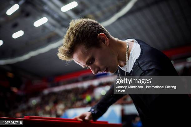 Michal Brezina of Czech Republic prepares in the Men's Free Skating during day three of the ISU Grand Prix of Figure Skating at the Helsinki Arena on...