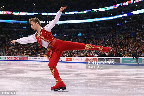 Michal Brezina of Czech Republic warms up before the Men's Free Skate program during Day 5 of the ISU World Figure Skating Championships 2016 at TD...