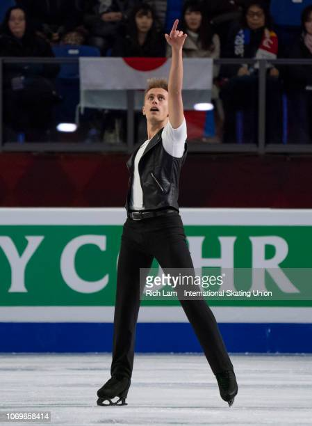 Michal Brezina of the Czech Republic competes in the Free Skate portion of the Men's Competition on December 2018 at the ISU Junior Senior Grand Prix...