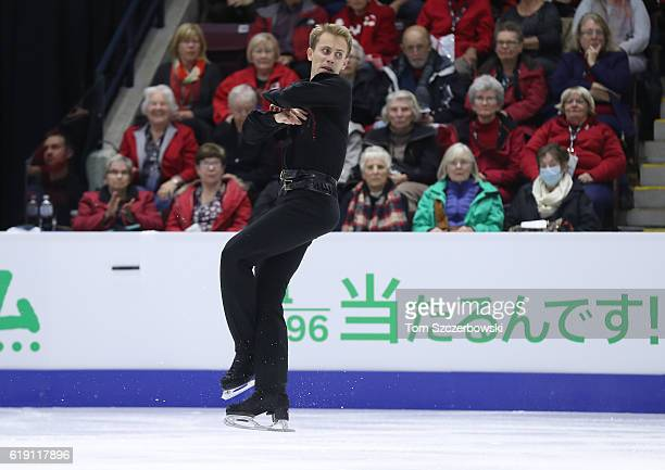 Michal Brezina of the Czech Republic competes in the Men's Singles Free Program during day two of the 2016 Skate Canada International at Hershey...