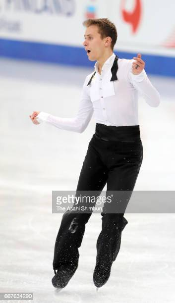 Michal Brezina of the Czech Republic competes in the Men's Singles Short Program during day two of the World Figure Skating Championships at Hartwall...