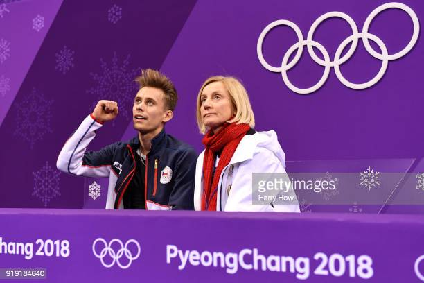 Michal Brezina of the Czech Republic reacts after competing during the Men's Single Free Program on day eight of the PyeongChang 2018 Winter Olympic...