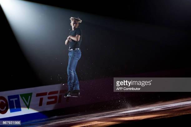 Michal Brezina of the Czech Republic skates his exhibition program at the ISU Grand Prix of Figure Skating's Skate Canada International at Brandt...