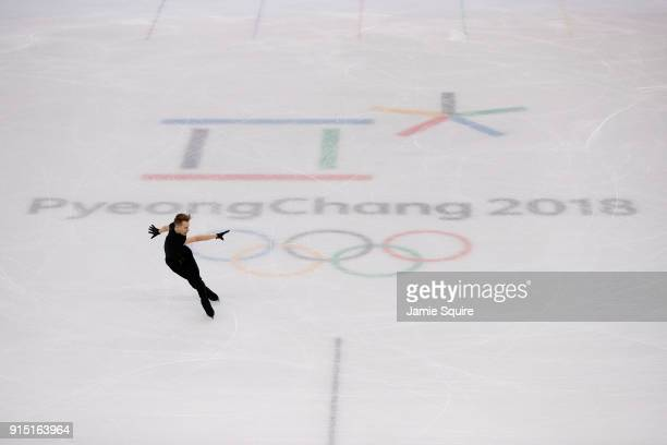 Michal Brezina of the Czech Republic trains during Figure Skating practice ahead of the PyeongChang 2018 Winter Olympic Games at Gangneung Ice Arena...