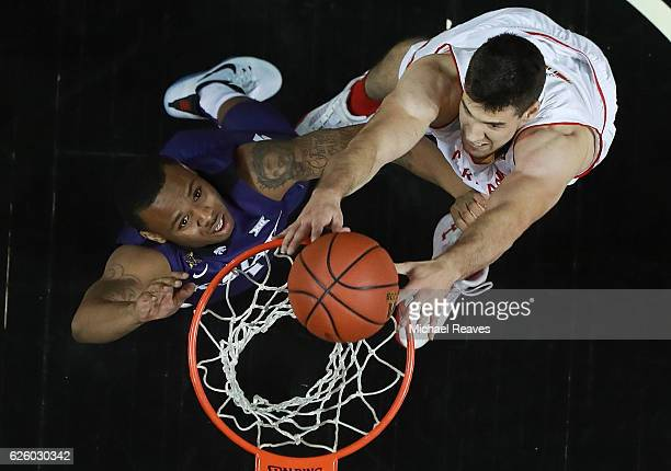 Michal Cekovsky of the Maryland Terrapins puts back a dunk against the Kansas State Wildcats during the championship game of the Barclays Center...