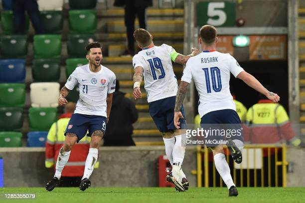 Michal Duris of Slovakia celebrates after scoring his sides second goal during the UEFA EURO 2020 Play-Off Final between Northern Ireland and...