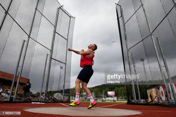 Michal Forejt of Czech Republic competes during Discus Throw Men Final on July 21, 2019 in Boras, Sweden.