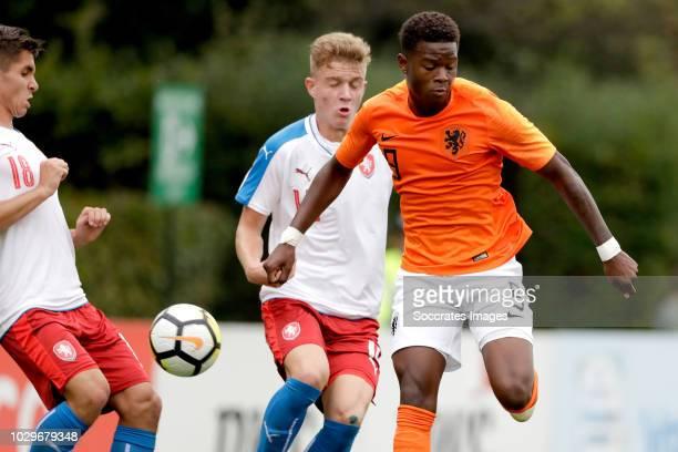 Michal Fukala of Czech Republic U19 Adam Provaznik of Czech Republic U19 Daishawn Redan of Holland U19 during the match between Holland U19 v Czech...