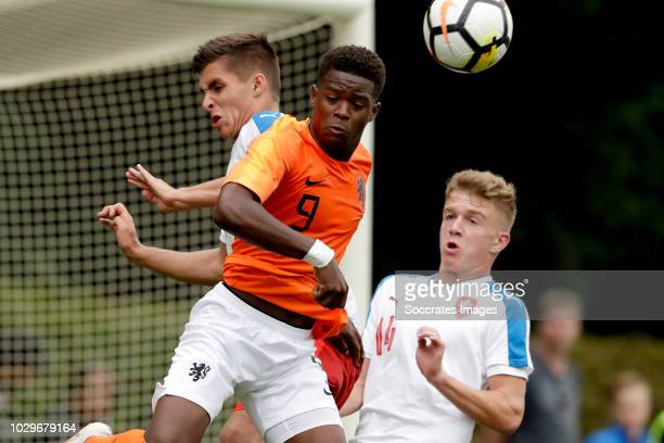 Michal Fukala of Czech Republic U19 Daishawn Redan of Holland U19 during the match between Holland U19 v Czech Republic U19 at the Sportpark...