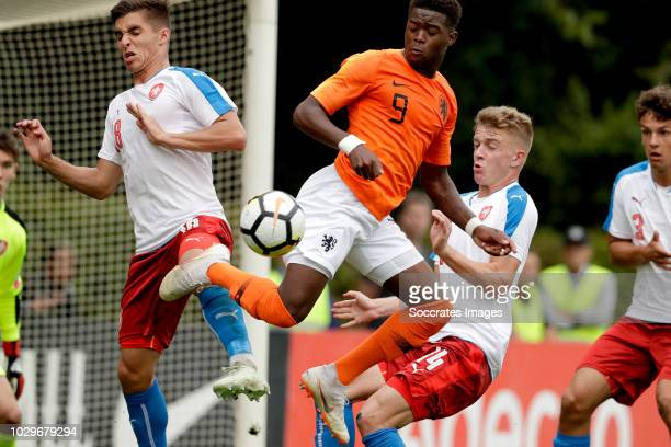 Michal Fukala of Czech Republic U19 Daishawn Redan of Holland U19 David Machacek of Czech Republic U19 during the match between Holland U19 v Czech...