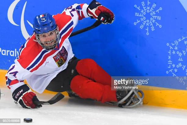 Michal Geier of the Czeech Republic in action during the Ice Hockey Preliminary Round Group B match between the Czech Republic and Japan on day four...