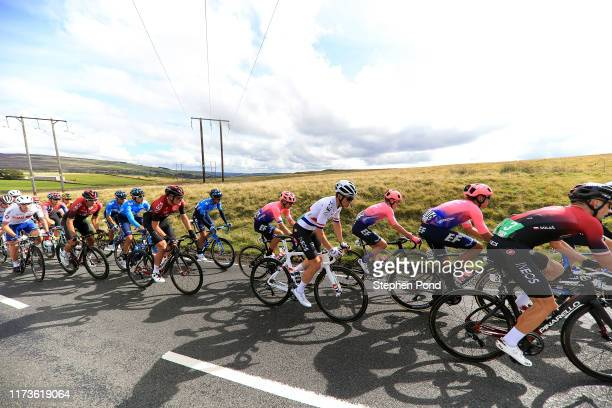 Michal Golas of Poland and Team INEOS / Luis Villalobos of Mexico and EF Education First Pro Cycling / Simon Clarke of Australia and EF Education...