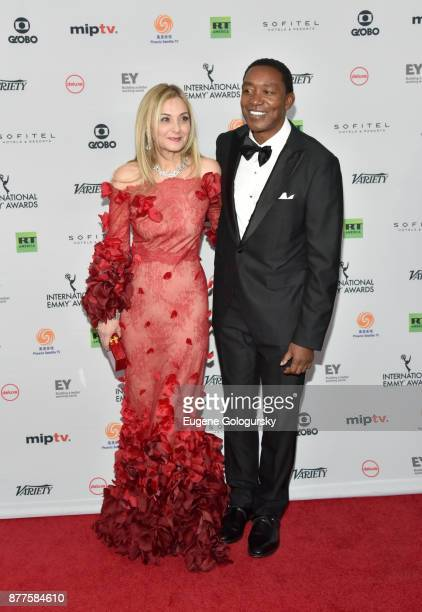 Michal Grayevsky President JCS International and Isiah Thomas attend International Emmy Awards Red Carpet at New York Hilton Midtown on November 20...