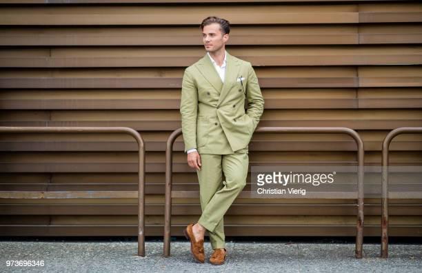 Michal Gronowski wearing coton double breasted suit Sebastian Zukowski, white coton seersucker shirt Shirtonomy, suede tassel loafers Yanko, Persol...