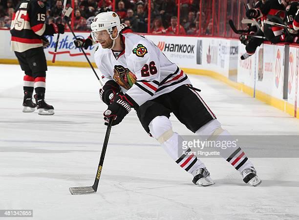 Michal Handzus of the Chicago Blackhawks skates against the Ottawa Senators at Canadian Tire Centre on March 28 2014 in Ottawa Ontario Canada