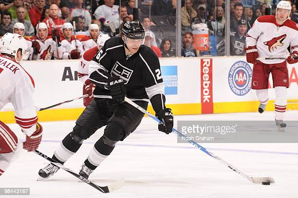 Michal Handzus of the Los Angeles Kings skates with the puck against the Phoenix Coyotes on April 8 2010 at Staples Center in Los Angeles California
