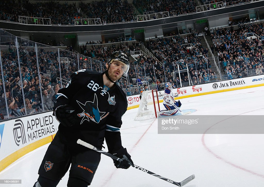 Michal Handzus #26 of the San Jose Sharks celebrates his shootout goal against Devan Dubnyk #40 of the Edmonton Oilers during an NHL game on January 31, 2013 at HP Pavilion in San Jose, California.