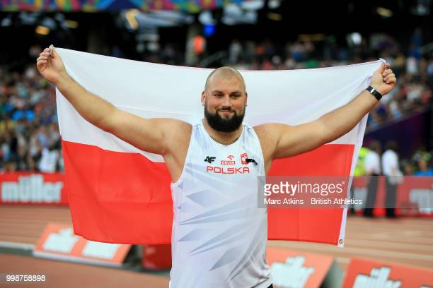 Michal Haratyk of Poland celebrates victory in the Men's Shot Put during day one of the Athletics World Cup London at the London Stadium on July 14,...