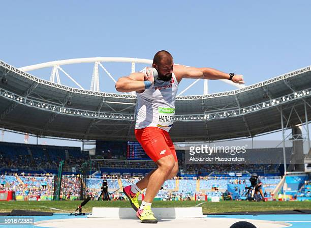 Michal Haratyk of Poland competes in Men's Shot Put Qualifying on Day 13 of the Rio 2016 Olympic Games at the Olympic Stadium on August 18, 2016 in...