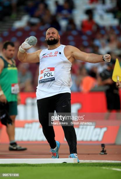 Michal Haratyk of Poland competes in the Men's Shot Put during day one of the Athletics World Cup London at the London Stadium on July 14, 2018 in...
