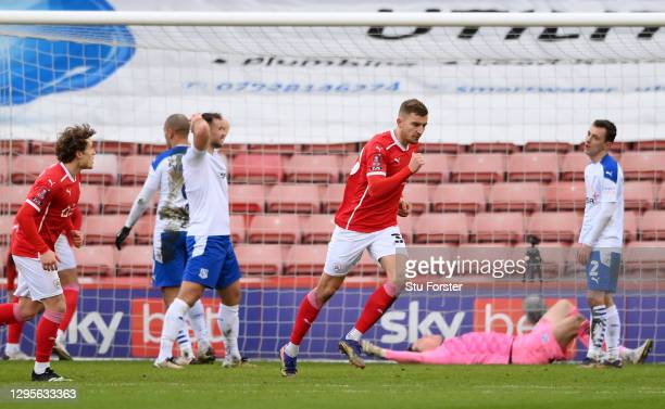 Michal Helik of Barnsley celebrates after scoring their side's first goal during the FA Cup Third Round match between Barnsley and Tranmere Rovers at...