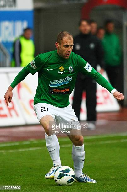 Michal Hubnik of FK Jablonec in action during the Czech First League match between FK Jablonec and SK Sigma Olomouc held on May 26, 2013 at the...