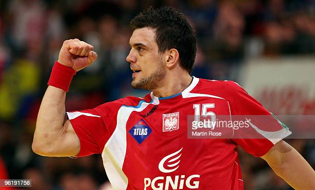Michal Jurecki of Poland celebrates during the Men's Handball European main round Group II match between Poland and Czech Republic at the Olympia...