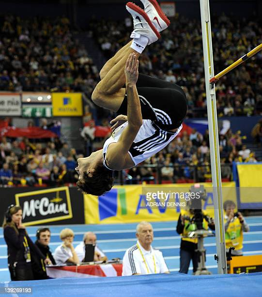 Michal Kabelka of Slovakia competes during the Men's High Jump during the Aviva Grand Prix athletics meeting at The National Indoor Arena in...
