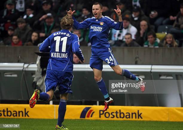 Michal Kadlec of Leverkusen celebrates after scoring his teams first goal during the Bundesliga match between Borussia Moenchengladbach and Bayer...