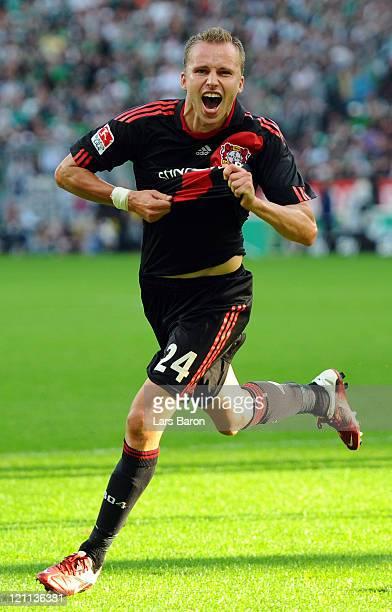 Michal Kadlec of Leverkusen celebrates after scoring his teams first goal during the Bundesliga match between Bayer 04 Leverkusen and SV Werder...