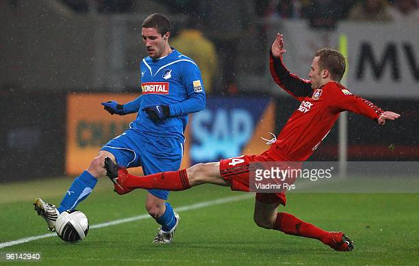 Michal Kadlec of Leverkusen defends against Franco Zuculini of Hoffenheim during the Bundesliga match between 1899 Hoffenheim and Bayer Leverkusen at...