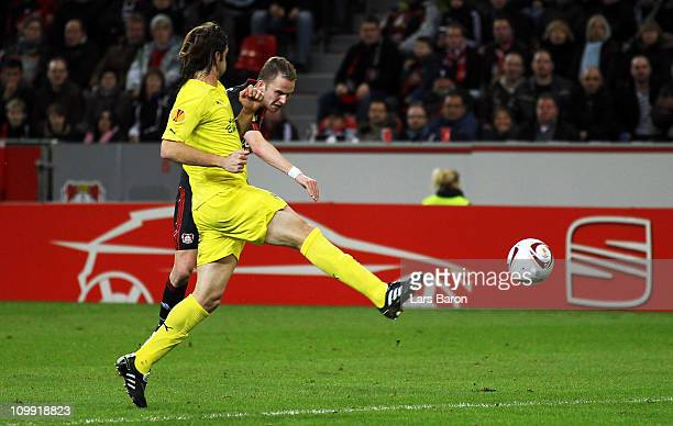 Michal Kadlec of Leverkusen scores his teams first goal during the UEFA Europa League round of 16 first leg match between Bayer Leverkusen and...